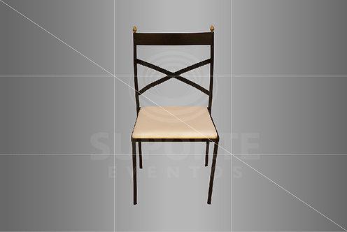 Cadeira Metálica Bronze Escura com Detalhe Dourado