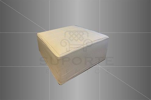 Puff Branco c/ Capa Branca Geométrica 1,00 x 1,00