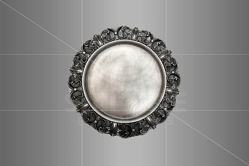 Sousplat Prata Envelhecido Vintage 0,35cm de diâmetro