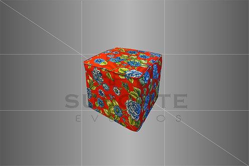 Puff Estampado Chita Pred. Vermelha 0,50 x 0,50 c/ Capa