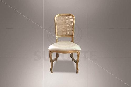 Cadeira Luis Felipe Dourada com Encosto em Palha
