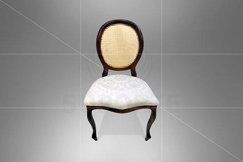 Cadeira Medalhão Tabaco Assento Jacquard Branco