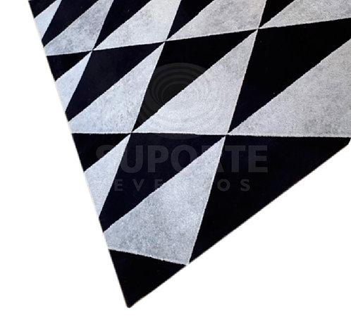 Tapete Geométrico Preto e Cinza 4,00 x 3,00