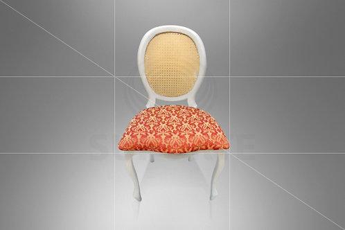 Cadeira Medalhão Branca Assento Jacquard Vermelho