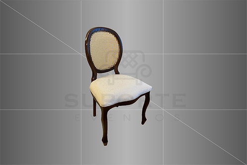 Cadeira Medalhão Tabaco Assento Nude Póa