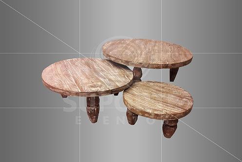 Mesa Centro Trio Rústica 0,90 x 0,39 / 0,70 x 0,30 / 0,49 x 0,24