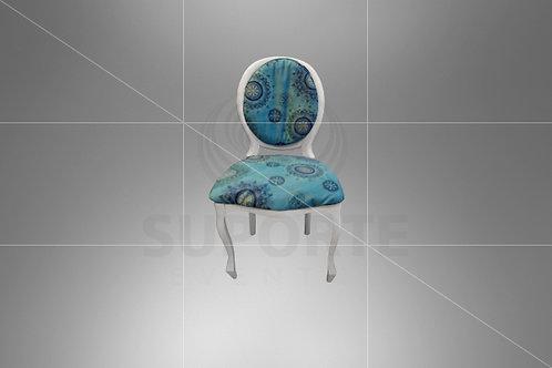 Cadeira Medalhão Branca Assento Tiffany Mandala