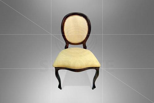 Cadeira Medalhão Tabaco Assento Liso Bege