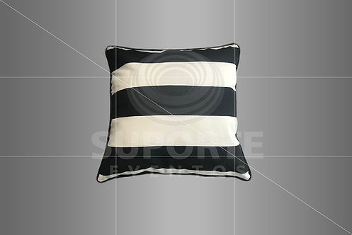 Almofada Listrada Preta e Branca 0,45 x 0,45