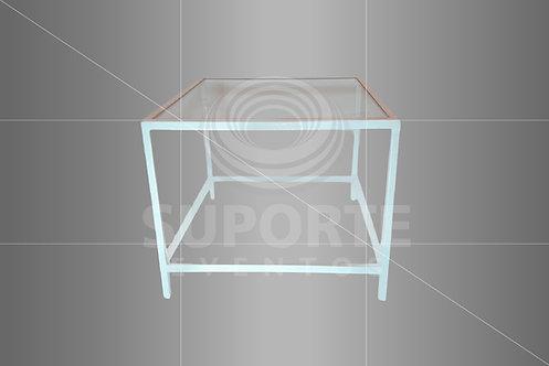 Mesa Canto Branca Met. 0,60 x 0,60 x 0,60 (Tampo: Vidro, Espelho ou Madeira)