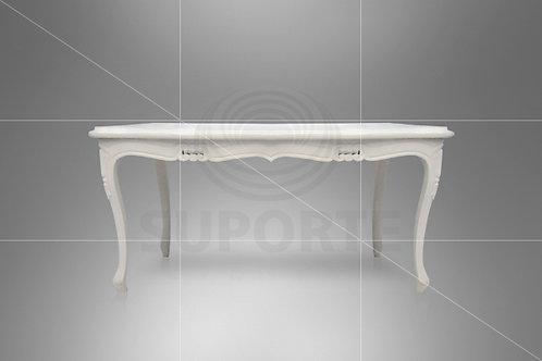 Mesa Branca Luis XV 1,65 x 0,95 x 0.81 alt.
