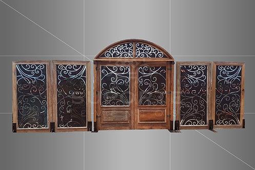 Porta Sevilha Floral Madeira com Detalhe Metálico (Opcional o Uso dos Biombos)