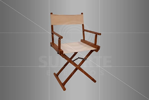 Cadeira Diretor em Madeira (Cores do Tecido: Off White, Preto ou Azul Listrado)