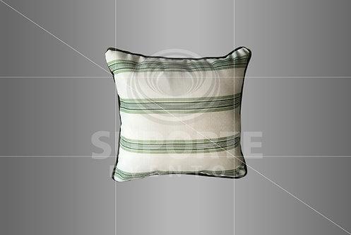 Almofada Verde com Listras Estreitas 0,45 x 0,45
