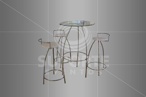 Conjunto Bistrô Inox (Cor do Assento: Preto, Branco ou Geométrico)