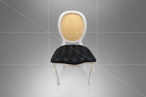 Cadeira Medalhão Branca Assento Jacquard Preto