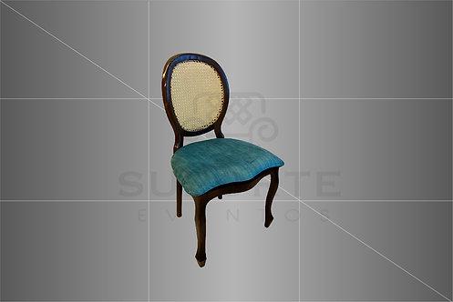 Cadeira Medalhão Tabaco Encosto Palha e Assento Tiffany Liso