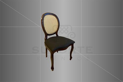 Cadeira Medalhão Tabaco Assento Preto Liso