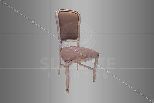 Cadeira Luis Felipe Prata com Encosto Forrado