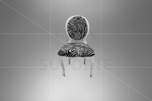 Cadeira Medalhão Branca Assento Zebrado