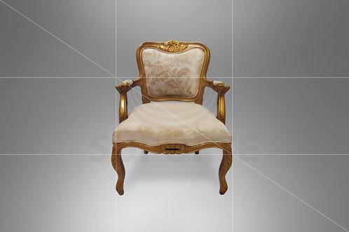 Poltrona Luis XV Dourada com Assento Bege 0,62 x 0,55