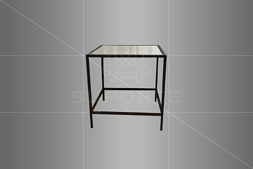 Mesa Canto Met. Preta 0,60 x 0,60 x 0,60 (Tampo: Vidro, Espelho ou Madeira)