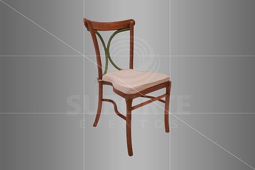 Cadeira Florença em Madeira com Detalhe Verde Oliva