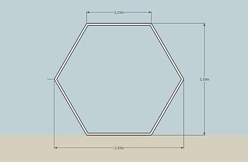 Arco Sextavado Metálico Prata 2,20 larg. x 2,20 alt.