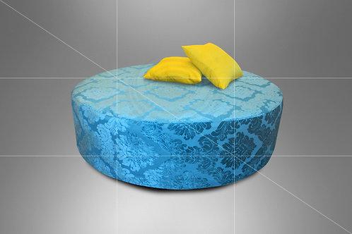 Puff Boho Bolachão Azul Tiffany Estampado 1,30 de Diâmetro c/ Capa