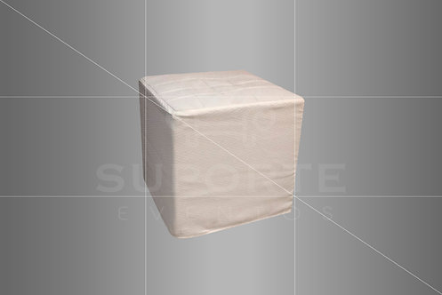 Puff Branco 0,50 x 0,50 com Capa em Tecido Geométrico