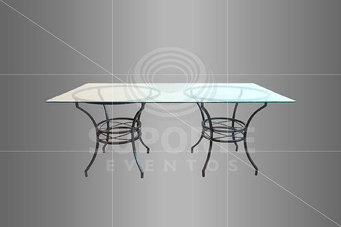 Mesa de Vidro com Base Metálica Bronze 2,00 x 1,00