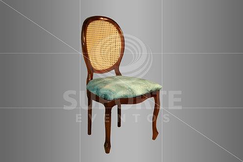 Cadeira Medalhão Tabaco Encosto Palha e Assento Tiffany Matizada