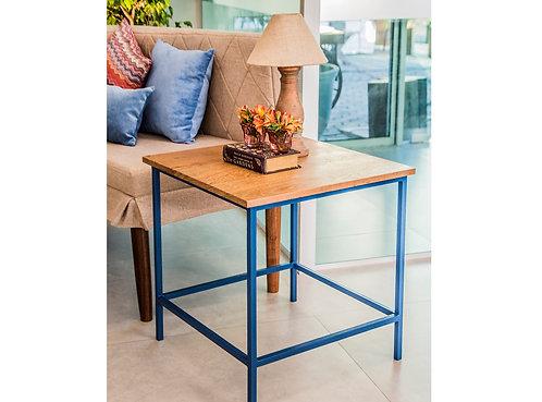 Mesa Canto Met. Azul 0,60 x 0,60 x 0,60 alt. (Tampo: Espelho, Madeira ou Vidro)
