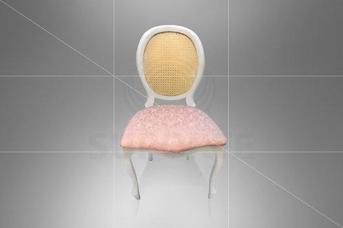 Cadeira Medalhão Branca Assento Jacquard Rosa Chá