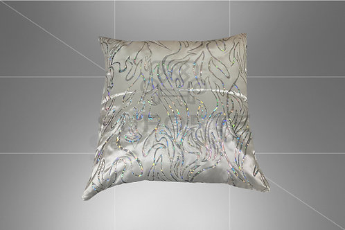 Almofada Prata Floral 3D 0,45 x 0,45