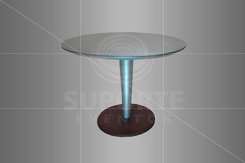 Mesa Taça Prata com Imbuia 1,00 de diâmetro (Opção com Tampo Espelhado)