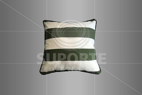 Almofada Verde com Listras Largas 0,45 x 0,45
