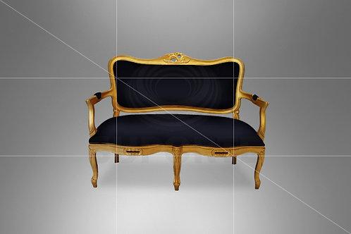 Namoradeira Dourada Luis XV com Assento Preto 1,22 x 0,57