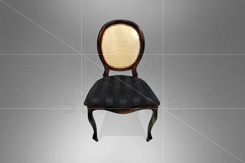 Cadeira Medalhão Tabaco Assento Jacquard Preto