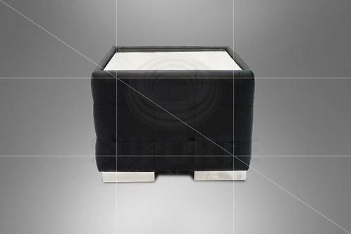 Mesa Canto Preta Puff Captonê 0,60 x 0,60 x 0,44 alt.