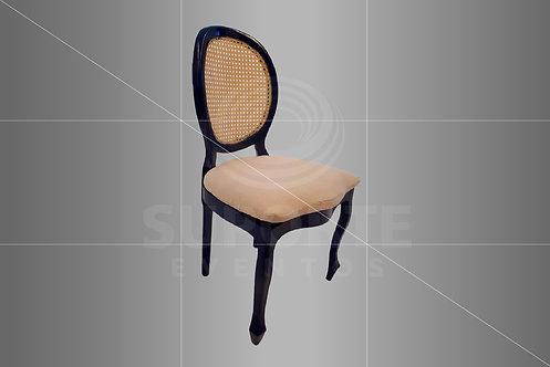 Cadeira Medalhão Azul com Encosto Palha