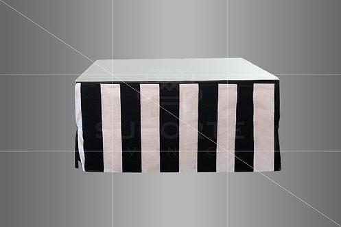 Mesa Centro com Capa Listrada Preta/Cinza e Espelho 1,00 x 1,00