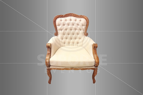 Poltrona Cibeli Imbuia Captonê Bege 0,77 x 0,80 x 1,02 alt.