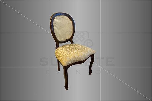 Cadeira Medalhão Tabaco Assento Dourado Jacquard