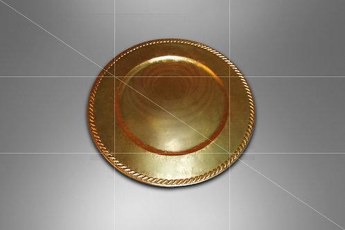 Sousplat Dourado Liso com Borda 0,33 de diâmetro