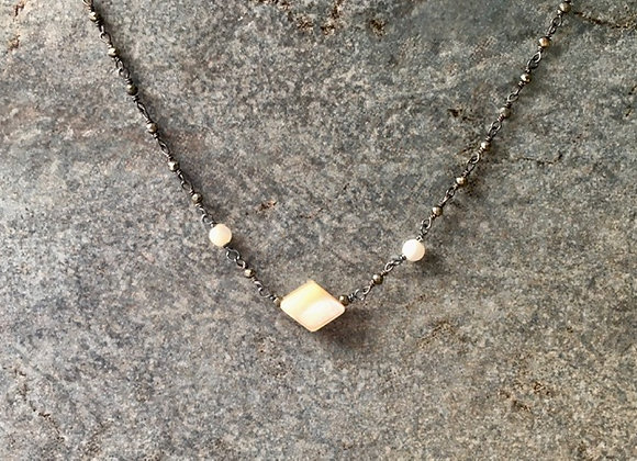 Mother-of-Pearl and Pyrite Chain Necklace