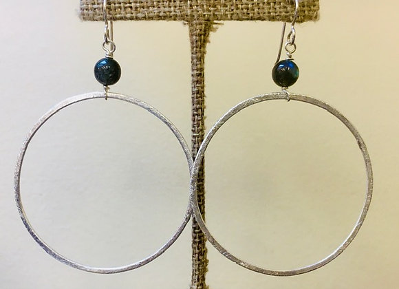 Large Silver Hoop with Labradorite Sphere