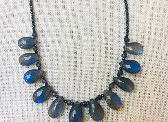 Blue Flash Labradorite Teardrop Necklace
