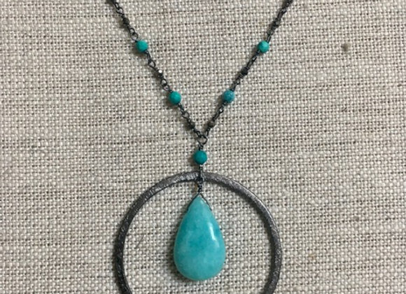 Amazonite Ring Drop Necklace