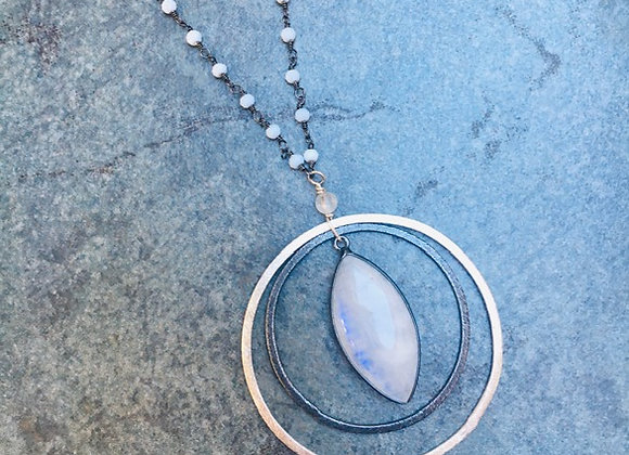 Long Moonstone Ripples Necklace